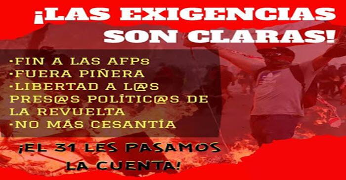 CHILE: 31 DE JULIO A PROTESTA POPULAR CONVOCAN ORGANIZACIONES POPULARES